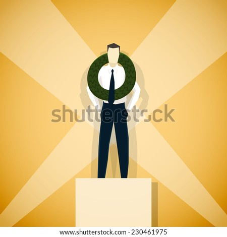 Businessman winner of competition, is standing on pedestal - stock vector