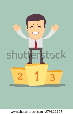 Businessman winner standing in first place on a podium he celebrates his victory vector illustration - stock vector