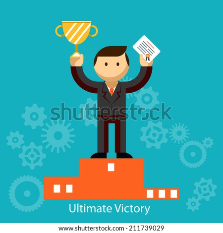 Businessman winner standing in first place on a podium holding up an award certificate and trophy as he celebrates his victory  vector illustration - stock vector