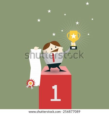 Businessman winner standing in first place on a podium holding up winning trophy and showing an award certificate. Vector illustration Flat style  - stock vector
