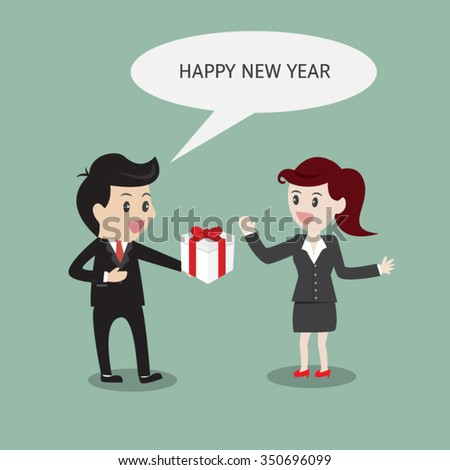 businessman wishes businesswoman happy new year with gift. - stock vector