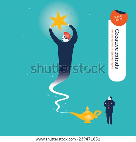 Businessman wit haladdin's genie and megaphone getting a star. Vector illustration Eps10 file. Global colors. Text and Texture in separate layers. - stock vector