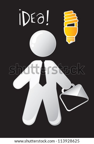 Businessman with a big idea over black background - stock vector