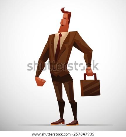 Businessman with a briefcase, vector - stock vector