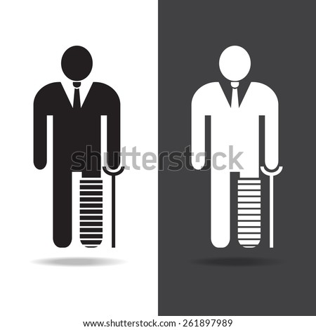 businessman with a broken leg on crutch icon , vector EPS 10. - stock vector
