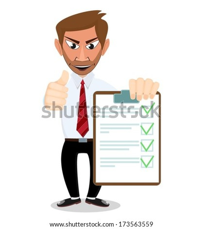Businessman with a document in which all approved. - stock vector