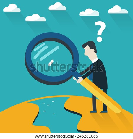 Businessman with a glass search - stock vector