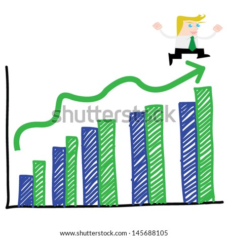 Businessman with a growth bar chart - stock vector