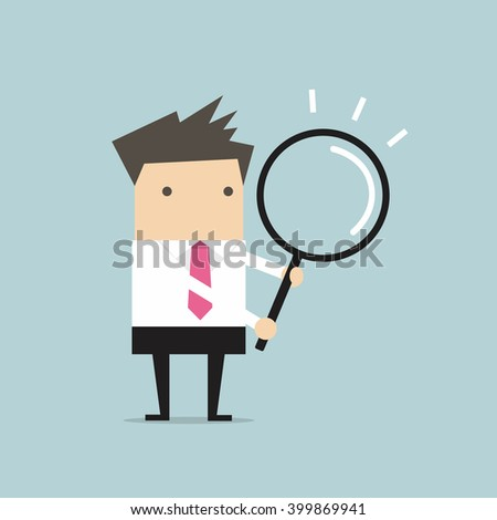 Businessman with a magnifying glass - stock vector