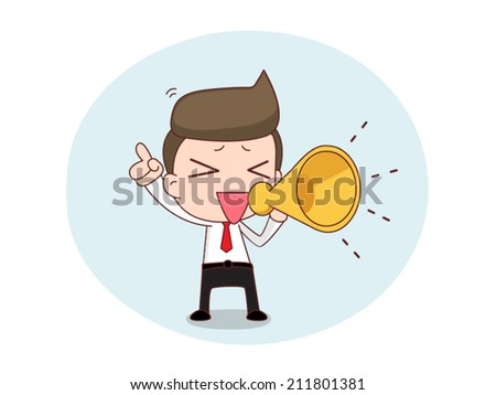businessman with a megaphone - stock vector