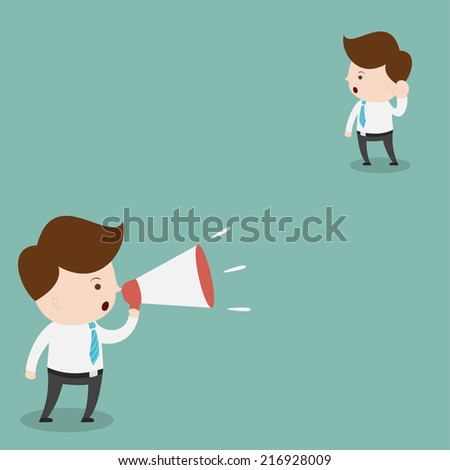 Businessman with a megaphone. - stock vector