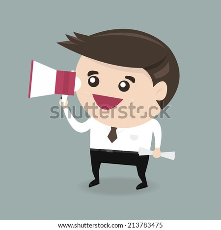Businessman with a megaphone, Business concept, vector - stock vector