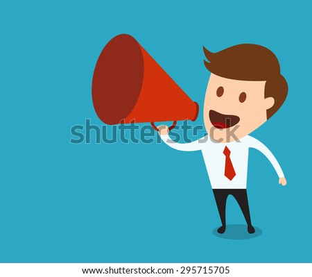 businessman with a megaphone, Business concept vector illustration - stock vector