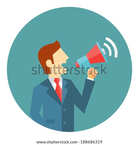 Businessman with a megaphone making a public announcement  at a political rally  staging a protest or issuing instructions - stock vector