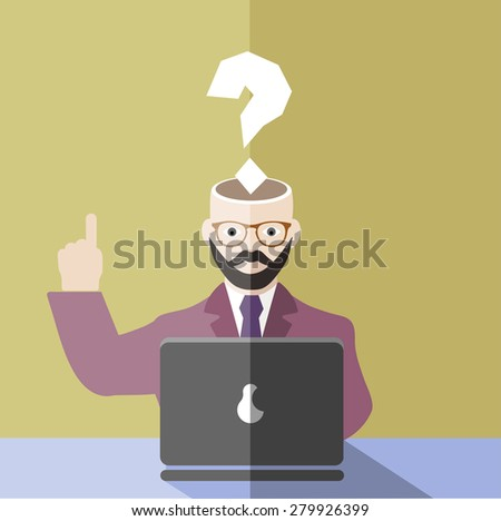 businessman with a question mark in front of the computer - stock vector