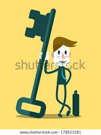 Businessman with a success key. Business Concept. Vector - stock vector