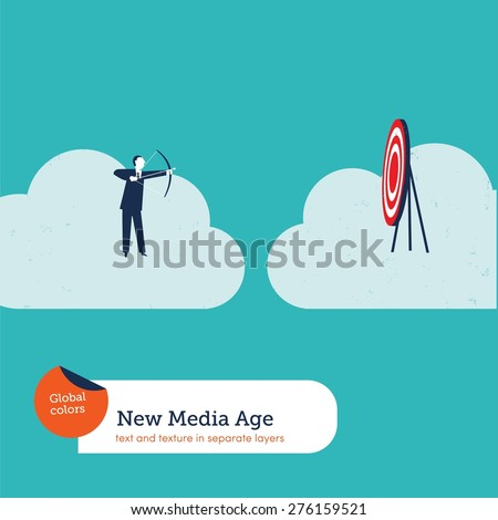 Businessman with arch and target on a cloud. Vector illustration Eps10 file. Global colors. Text and Texture in separate layers. - stock vector