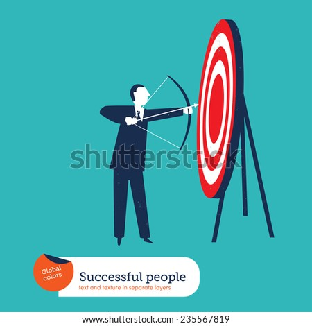 Businessman with arch and target Vector illustration Eps10 file. Global colors. Text and Texture in separate layers. - stock vector