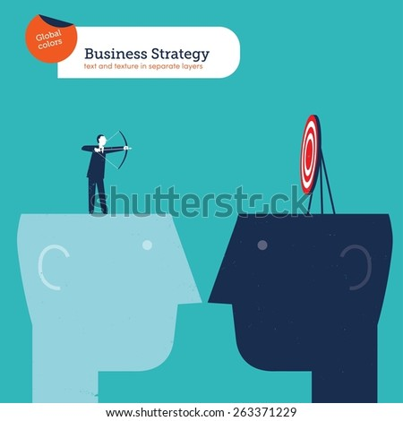 Businessman with arch on a head and target on another head. Vector illustration Eps10 file. Global colors. Text and Texture in separate layers. - stock vector