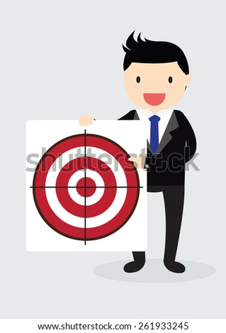 Businessman with arrow is aiming at target - stock vector