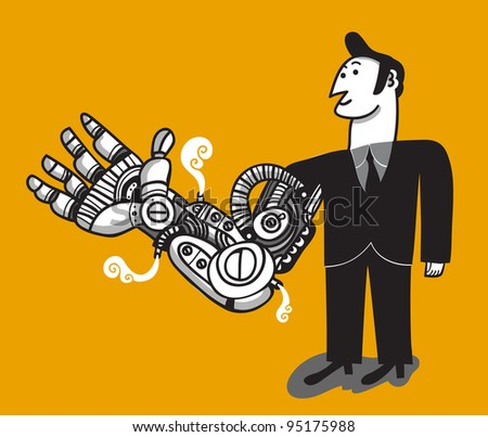 businessman with big cybernetic arm - stock vector