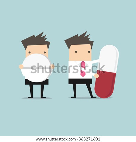Businessman with big pill - stock vector
