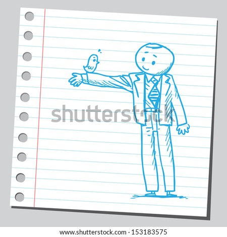 Businessman with bird