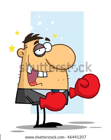 Businessman with Black Eye Wears Boxing Gloves,background - stock vector