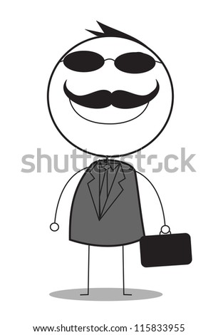 businessman with black glasses - stock vector
