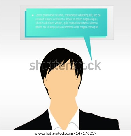 Businessman with blue speech bubble vector - stock vector