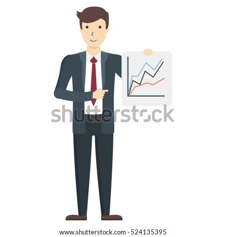 Businessman with board. Handsome businessman with chart board showing presentation.