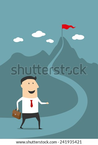 Businessman with briefcase moving on the road to the top of high mountain with red flag in the meaning of success and goal achievement, flat style - stock vector