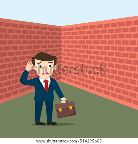 Businessman with briefcase standing before wall, vector illustration cartoon
