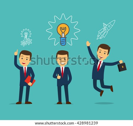 Businessman with bulb and rocket. Business idea concept. Vector illustration - stock vector
