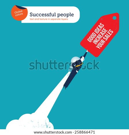 Businessman with bulb rocket good ideas increase your sales. Vector illustration Eps10 file. Global colors. Text and Texture in separate layers. - stock vector