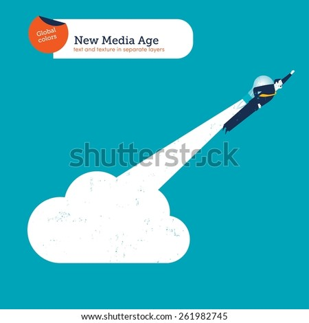 Businessman with bulb rocket taking off from a cloud. Vector illustration Eps10 file. Global colors. Text and Texture in separate layers. - stock vector