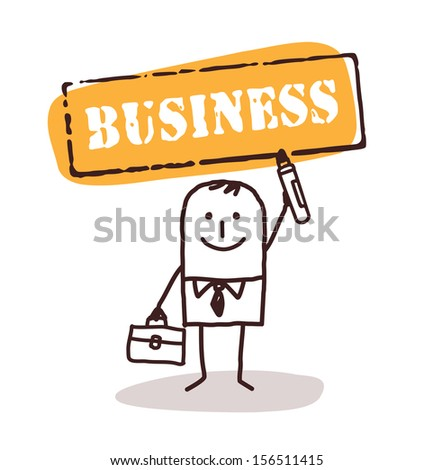 businessman with business sign - stock vector