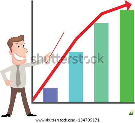 Businessman with chart. - stock vector