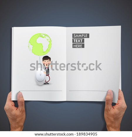 Businessman with computer mouse printed on book. - stock vector
