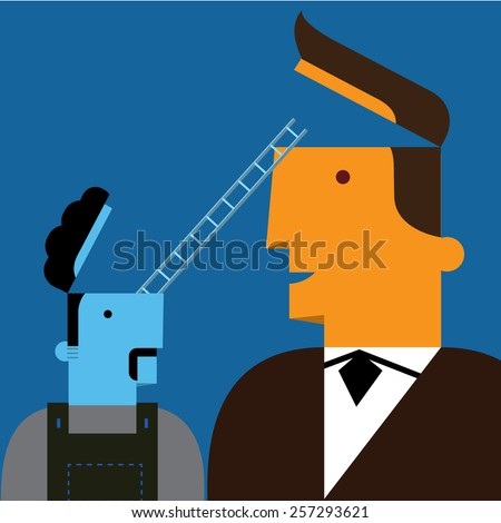 Businessman with concept of communication idea  - stock vector