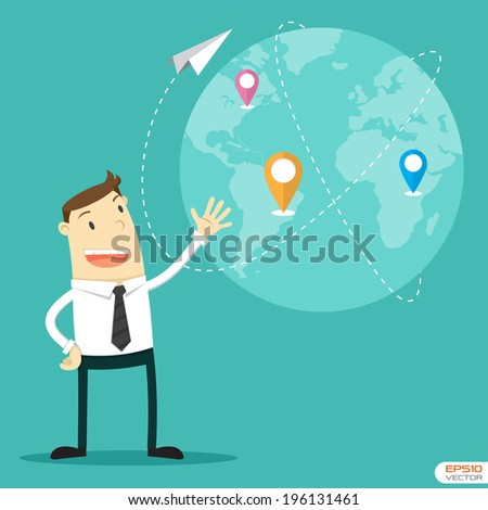 Businessman with connection plan - stock vector
