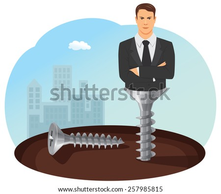 Businessman with crossed arms is screwed into the ground - stock vector