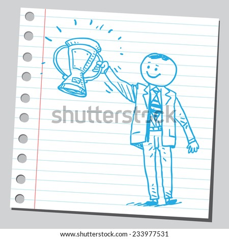 Businessman with cup trophy - stock vector