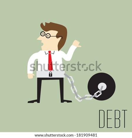 Businessman with debt bondage, Vector illustration - stock vector