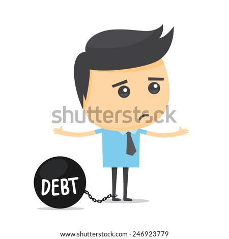 Businessman with debt burden. - stock vector