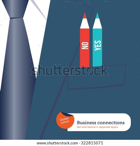 Businessman with 2 different pencils in his pocket yes no. Vector illustration Eps10 file. Global colors. Text and Texture in separate layers. - stock vector