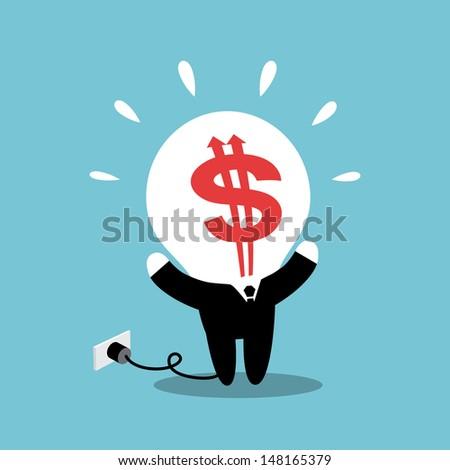 Businessman with Dollar Sign Bulb-head  - stock vector