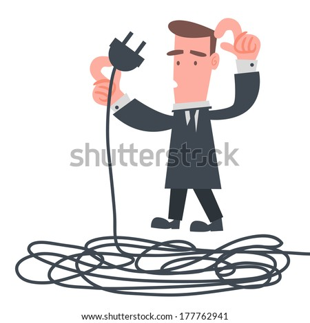 Businessman with Electric Wire - stock vector