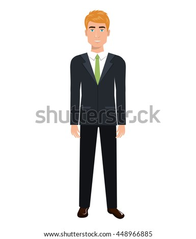 Businessman with elegant suit and tie cartoon, vector illustration graphic.