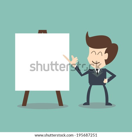 businessman with flip chart  - stock vector